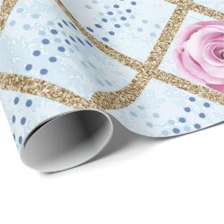 Papel De Presente Brilho Pastel azul cor-de-rosa Antonietta barroco