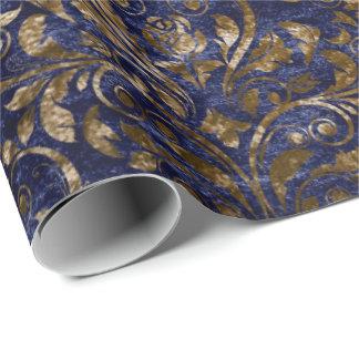 Papel De Presente Bronze azul esmagado do marinho de veludo do ouro