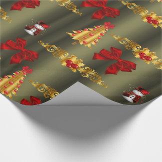 Papel De Presente Bronze decorativo do Natal vermelho