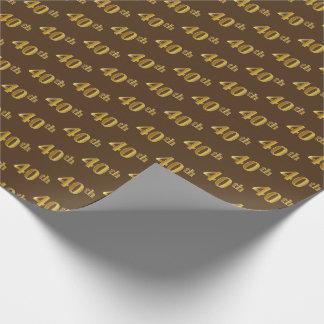 Papel De Presente Brown, evento do ouro 40th do falso (quadragésimo)