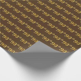 Papel De Presente Brown, evento (Ninetieth) do 90 do ouro do falso