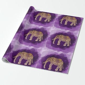 Papel De Presente brushstroke tribal do roxo do elefante da folha de