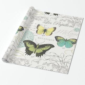 Papel De Presente butterfiles botânicos do vintage moderno