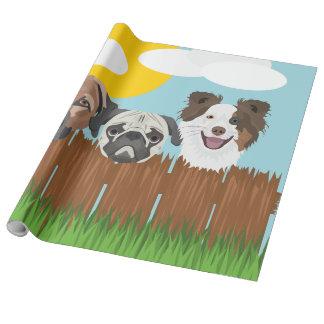 Papel De Presente Cães afortunados da ilustração em uma cerca de