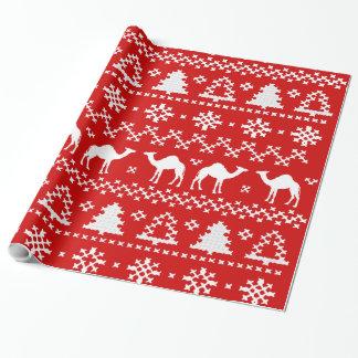 Papel De Presente Camisola feia do Natal do camelo do dia de