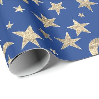 Papel De Presente Campo azul do céu do metal do ouro do índigo da