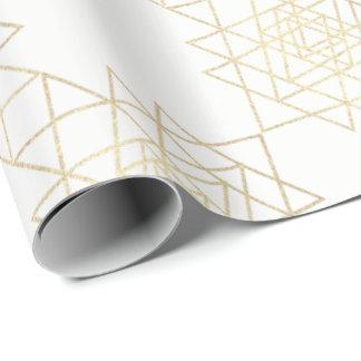 Papel De Presente Campo metálico branco da geometria do hexágono do