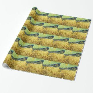 Papel De Presente Campos de trigo com a ceifeira no nascer do sol -