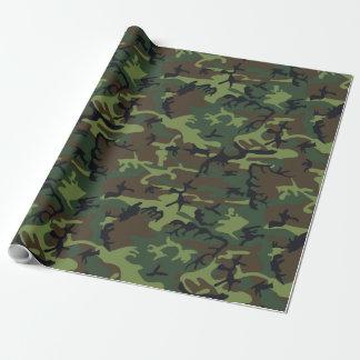 Papel De Presente Camuflagem preta verde da caça de Brown