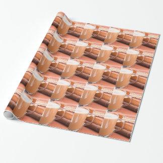Papel De Presente Caneca de vidro com chocolate quente e biscoitos