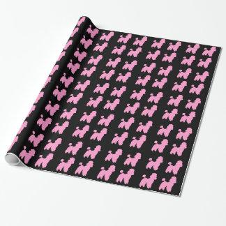 Papel De Presente Caniches cor-de-rosa & rolo preto do papel de