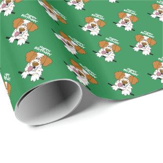 Papel De Presente Cão de Brittany dos desenhos animados do papel de