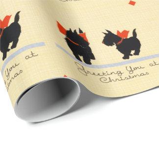 Papel De Presente Cão de Terrier do Scottish do natal vintage