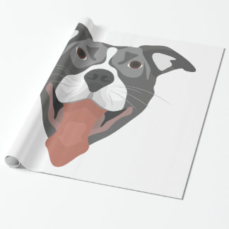 Papel De Presente Cão Pitbull de sorriso da ilustração