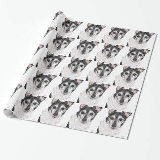 Papel De Presente Cão preto e branco