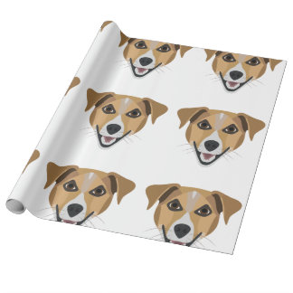 Papel De Presente Cão Terrier de sorriso da ilustração