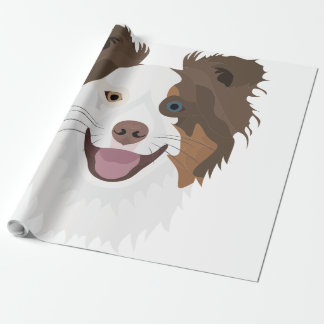 Papel De Presente Cara feliz border collie dos cães da ilustração