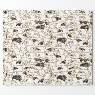 Papel De Presente carneiros, rebanho enorme preto e branco