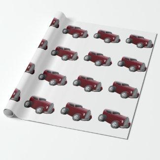 Papel De Presente carro velho do músculo do hot rod do vermelho de