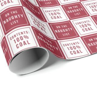 Papel De Presente Carvão 100% impertinente da lista | vermelho &