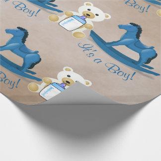 Papel De Presente Cavalo de balanço azul é UM MENINO!