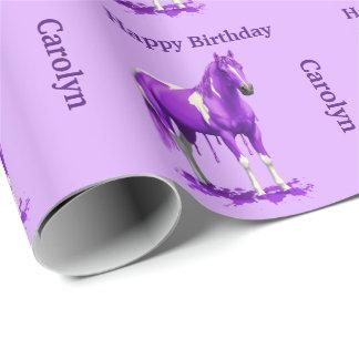 Papel De Presente Cavalo molhado da pintura do gotejamento roxo