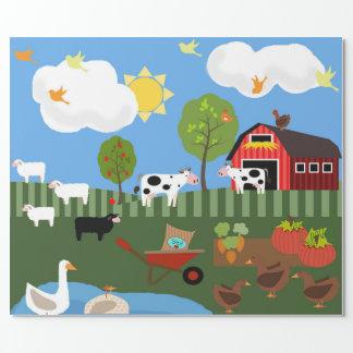 Papel De Presente Cena feliz dos animais do Barnyard (MED. & Lg.