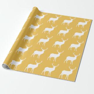 Papel De Presente Cervos brancos no papel de envolvimento do ouro
