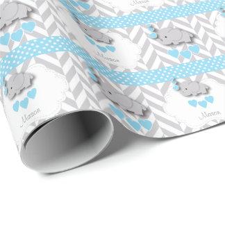 Papel De Presente Chá de fraldas cinzento azul, branco do elefante