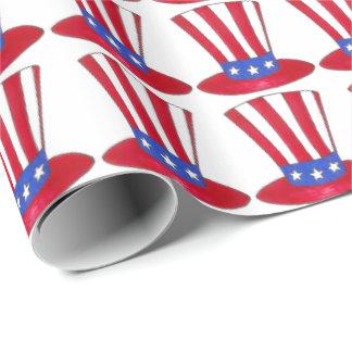 Papel De Presente Chapéu alto patriótico do tio Sam da bandeira