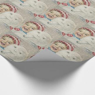 Papel De Presente Chapéu de sorriso da malha da tubulação da neve do