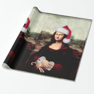 Papel De Presente Chapéu do papai noel do Natal de Mona Lisa
