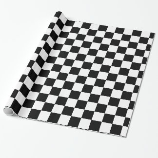 Papel De Presente Checkered preto