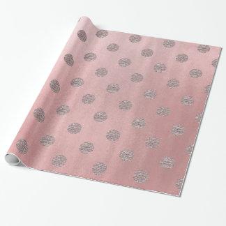 Papel De Presente Chique moderno das bolinhas Glam cor-de-rosa do
