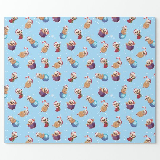 Papel De Presente Christmas Tiny Little Sloths Wrapping Paper