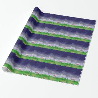 Papel De Presente Chuva com arte do celeiro