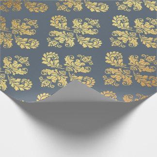 Papel De Presente Cinzas azuis reais Baroqu de ornamento floral do