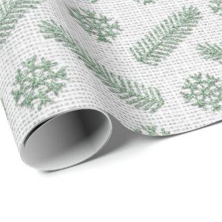 Papel De Presente Cinzas brancas de linho da casa de campo do verde