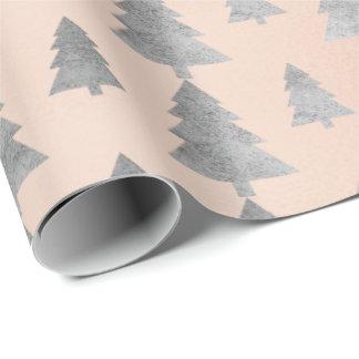 Papel De Presente Cinzas de prata de árvore de Natal do ouro da casa