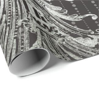 Papel De Presente Cinzas de prata do preto floral real das gotas do