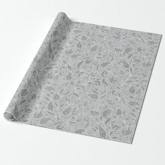 Papel De Presente Cinzas florais