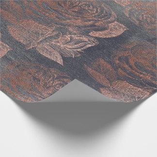 Papel De Presente Cinzas florais metálicas do cimento do ouro do