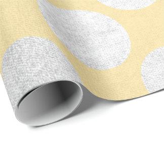 Papel De Presente Cinzas grandes Sun do amarelo da prata dos pontos