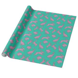 Papel De Presente Coelhos cor-de-rosa no papel de envolvimento verde