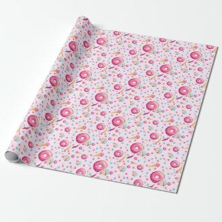 Papel De Presente Colagem cor-de-rosa da rosquinha