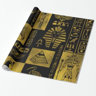 Papel De Presente Colagem egípcia dos hieroglyphs e dos símbolos do