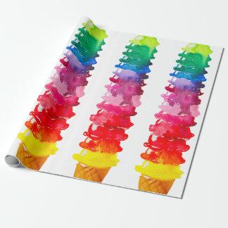 Papel De Presente Cone multicolorido do sorvete da aguarela colorido