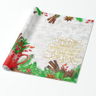 Papel De Presente Cones do pinho do Natal