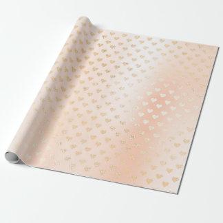 Papel De Presente Confetes elegantes dos corações Pastel cor-de-rosa