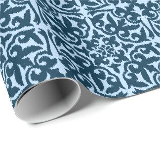 Papel De Presente Cor damasco de Ikat - índigo e luz escuros - azul